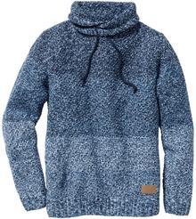 Bonprix Sweter z szalowym kołnierzem Slim Fit niebieski melanż