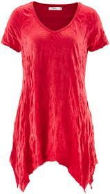 Bonprix Długi shirt kreszowany, krótki rękaw czerwony