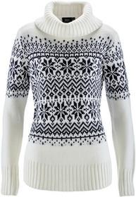 Bonprix Sweter z golfem biel wełny - ciemnoniebieski wzorzysty