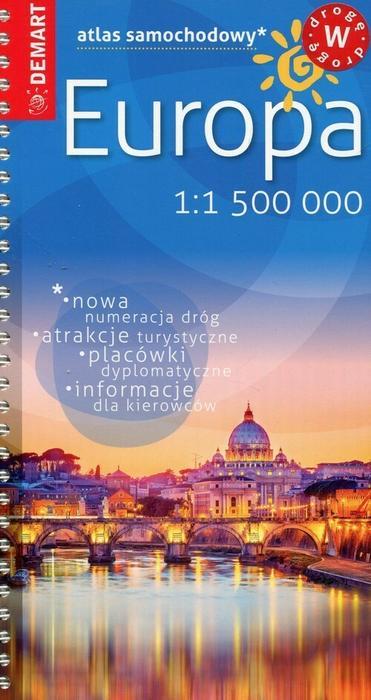 Demart Europa - mini atlas samochodowy (skala 1:1 500 000) - Demart