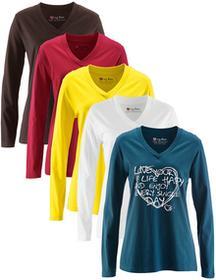 Bonprix Długi shirt z dekoltem w serek (5 szt.), długi rękaw niebieskozielony z nadrukiem + ciemnobrązowy +biały + ciemnoczerwony + żółty narcyz