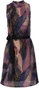 Bonprix Sukienka z wiązanym paskiem czarno-lila wzorzysty