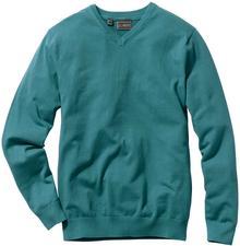 Bonprix Sweter z dekoltem w serek Regular Fit niebieskozielony morski
