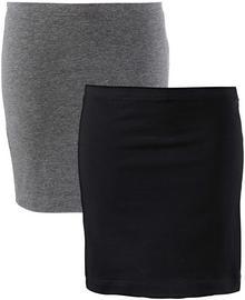 Bonprix Spódnica shirtowa ze stretchem (2 szt.) szary melanż + czarny