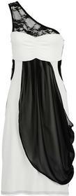Bonprix Sukienka na jedno ramię kremowo-czarny