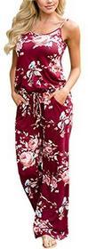62124e3f1cd ECOWISH ecowish kombinezon Jumpsuit damski strój Elegant spodnie letnie  wzór kwiatowy bez rękawów Romper - czerwony