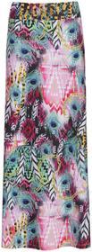 Bonprix Długa spódnica plażowa jasnoróżowo-niebieski wzorzysty