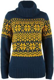 Bonprix Sweter z golfem ciemnoniebiesko-żółty curry wzorzysty