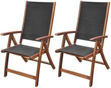 vidaXL Składane krzesła z drewna akacjowego, czarne, 2 szt.