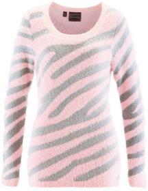 Bonprix Sweter pastelowy jasnoróżowy - srebrny wzorzysty