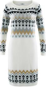 Bonprix Sukienka dzianinowa biel wełny wzorzysty