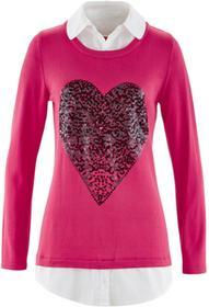 Bonprix Sweter 2 w 1 z koszulową wstawką, długi rękaw różowy