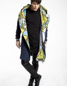 moxos Płaszcz unisex jeans z kapturem Aqualoopa