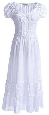 Anna-Kaci kobiety jednokolorowe Elastische smock talia lato fluegelaermeln Gypsy długa sukienka Lace koronka Oktoberfest Maxi sukienka - Empire s biały B01G6GJ2SC