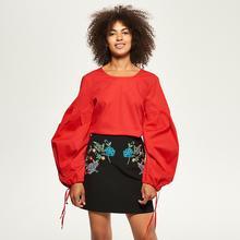 Reserved Bluzka z szerokimi rękawami - Czerwony