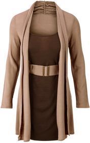 Bonprix Sukienka dzianinowa z paskiem jasnobrązowo-brązowy
