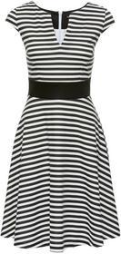 Bonprix Sukienka w paski biel wełny - czarny w paski