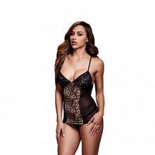 Baci Lingerie Koszulka - Leopard Basque & Garter Stays No Panty One Size