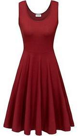 KorMei kormei damska sukienka damska bez rękawów przypadkowy na plażę sukienka letnia Tank wydany przez sukienka na ramiączkach do kolan, kolor: czerwony (Weinrot) , rozmiar: xl B071VKZL41