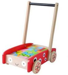 EcoToys Drewniany wózek- pchacz z klockami 86AB-61756