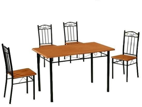 Lectus Zestaw stołowy Mirida 4 krzesła orzech