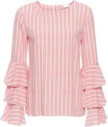 Bonprix Bluzka z falbanami biel wełny - czerwony w paski