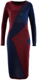 Bonprix Sukienka dzianinowa bordowo-niebieski