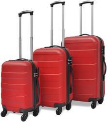 vidaXL 3 Walizki podróżne z twardą obudową na kółkach czerwone