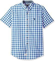 U.S. POLO ASSN. Men's Short Sleeve Classic Fit Plaid Shirt, White zima gglb, XL B074PBYD94