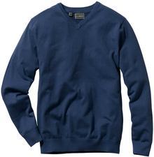 Bonprix Sweter z dekoltem w serek Regular Fit ciemnoniebieski