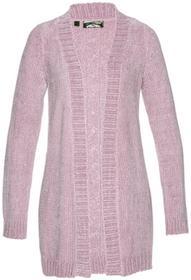 Bonprix Sweter rozpinany z szenili matowy jasnoróżowy