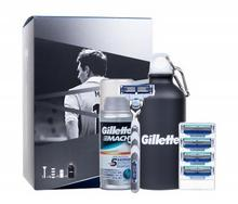Gillette Mach3 Turbo Lionel Messi zestaw Shaver with 1 Razor 1 piece + Razors 4 pieces + Shaving Gel Irritation Defense 75 ml + Sport Bottle M