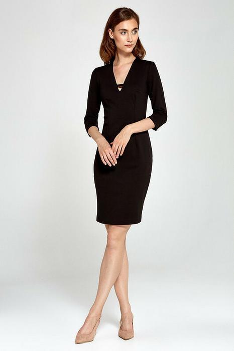 eac2768ce1 Dzianinowa sukienka z dekoltem V s92 - czarny – ceny