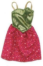 Mattel Barbie Fashionistas, Modne kreacje, sukienka złoto-różowa