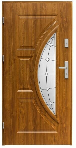 Splendoor Drzwi zewnętrzne przeszklone  Szmaragd lewe dąb złoty 90