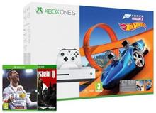 Microsoft Xbox One S 500GB Biały +  Forza Horizon 3 + Hot Wheels + FIFA 18 + Wolfenstein II + XBL 6 m