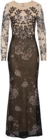 Bonprix Sukienka wieczorowa naturalno-czarny wzorzysty