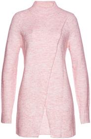 Bonprix Długi sweter pastelowy jasnoróżowy melanż