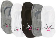 Bonprix Skarpety stópki z buzią kota (5 par) szaro-biało-czarny