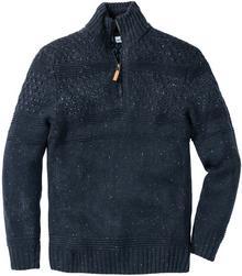 Bonprix Sweter ze stójką Regular Fit ciemnoniebieski melanż