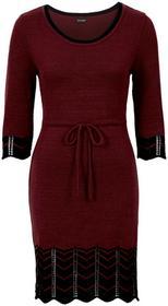 Bonprix Sukienka dzianinowa czerwony klonowy - czarny