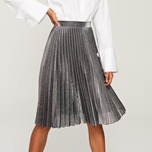 RESERVED Metaliczna plisowana spódnica - Srebrny