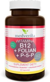 MEDVERITA Witamina B12 (metylokobalamina) + Folian Quatrefolic + P-5-P (B6) 60 kapsułek