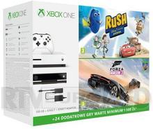 Microsoft Xbox One S 500 GB Biała + Kinect + Forza Horizon 3 + Hot Wheels + Disney Pixar Rush + XBL 6 m