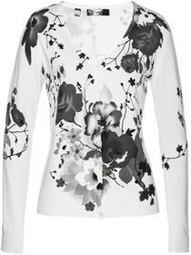 Bonprix Sweter rozpinany z nadrukiem biały z nadrukiem