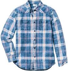 Bonprix Koszula z długim rękawem Regular Fit biało-niebieski dżins w kratę