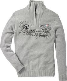 Bonprix Sweter ze stójką Regular Fit jasnoszary melanż