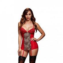 Baci Lingerie Koszulka - Red Basque & Garter Stays No Panty One Size