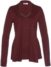 Bonprix Sweter bez zapięcia w optyce 2 w 1 czerwony klonowy
