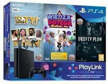 Sony Playstation 4 Slim 500GB Czarny + To Jesteś Ty + Wiedza To Potęga + Ukryty Plan